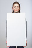 Business woman hold blanc card. stock image