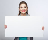 Business woman hold blanc card. Stock Photography