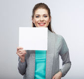 Business woman hold blanc card. Stock Photo