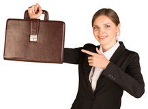 Business woman hold briefcase in hand Stock Images