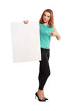 Business woman hold card Royalty Free Stock Photo