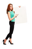 Business woman hold card Royalty Free Stock Photos