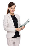 Business woman hold clipboard Stock Photos