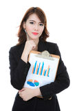 Business woman hold clipboard paper with finance chart isolated Royalty Free Stock Photo