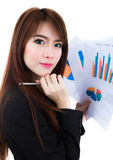 Business woman hold clipboard paper with finance chart isolated Royalty Free Stock Photography
