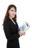 Business woman hold clipboard paper with finance chart isolated Stock Photography