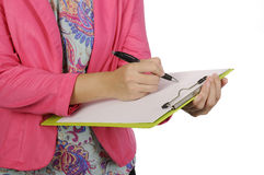 Business Woman Hold Clipboard Royalty Free Stock Photos