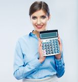 Business woman hold count machine. Isolated female portrait stock photography
