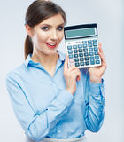 Business woman hold count machine. Royalty Free Stock Image