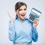 Business woman hold count machine. Isolated female portrait royalty free stock photography