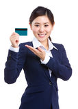Business woman hold credit card Stock Photos