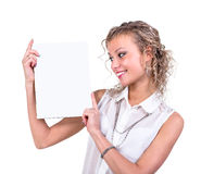 Business woman hold empty blank board isolated on Royalty Free Stock Image