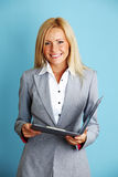 Business woman hold a folder Royalty Free Stock Photos