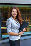 Business woman hold a folder Stock Photography