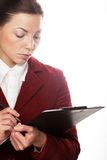Business woman hold a folder of papers Royalty Free Stock Images