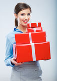 Business woman hold gift box in christmas color style, studio p Stock Photos