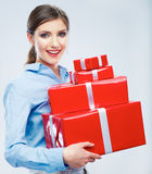Business woman hold gift box in christmas color style, studio p Royalty Free Stock Photography