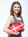 Business woman hold gift box. Stock Image