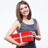 Business woman hold gift box. Royalty Free Stock Image