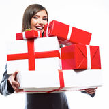 Business woman hold gift box. White background isolated. Female model Royalty Free Stock Photos