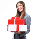 Business woman hold gift box. White background isolated Royalty Free Stock Photo