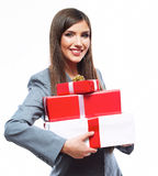 Business woman hold gift box. White background isolated Stock Images