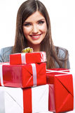 Business woman hold gift box. White background iso. Lated female model Stock Photo