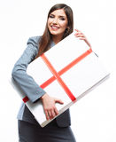Business woman hold gift box. White background isolated. Female model Royalty Free Stock Photo