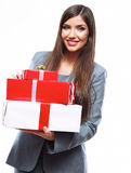 Business woman hold gift box. White background isolated. Female model Stock Photo