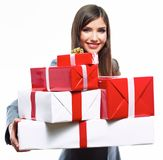Business woman hold gift box. White background isolated Stock Photo