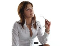 Business woman hold glasses Royalty Free Stock Images