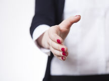 Business woman hold hand for handshake. Stock Image