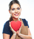 Business woman hold heart. Valentine day love symb Royalty Free Stock Photos