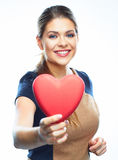 Business woman hold heart. Valentine day love symbol. Stock Images