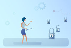 Business Woman Hold Key Choosing Lock Opportunity Decision Concept Stock Photography