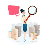 Business Woman Hold Magnifying Glass Stacked Paper Document Paperwork Search Royalty Free Stock Photos