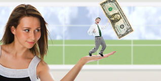 Business woman hold man Royalty Free Stock Image