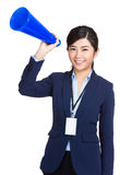 Business woman hold megaphone Stock Images
