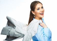 Business woman hold motion suit. Stock Photography