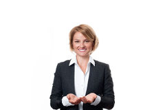Business woman hold open palm with empty copy space. Royalty Free Stock Image