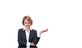 Business woman hold open palm with empty copy space. Stock Photos