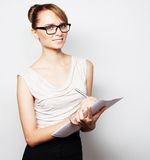 Business woman hold pages of paper Royalty Free Stock Photo