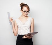 Business woman hold pages of paper Stock Photography