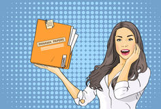Business Woman Hold Panama Papers Folder Pop Art Colorful Stock Image