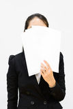 Business woman hold a paper Royalty Free Stock Photo