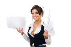 Business woman hold paper and documents Stock Photo