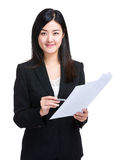 Business woman hold paper information Stock Photo