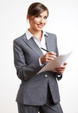 Business woman hold paper. Isolared white backgrou Royalty Free Stock Image