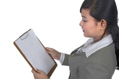 Business Woman Hold Paperboard Royalty Free Stock Image