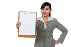 Business Woman Hold Paperboard Royalty Free Stock Photo